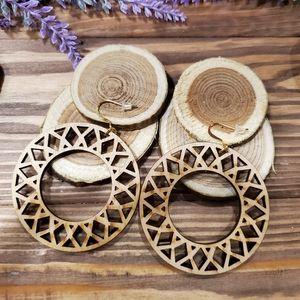 Sunflower Wooden Drop Earrings